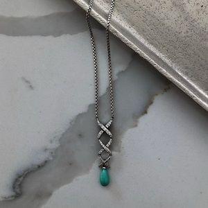 Auth David Yurman Turquoise & Diamond Necklace